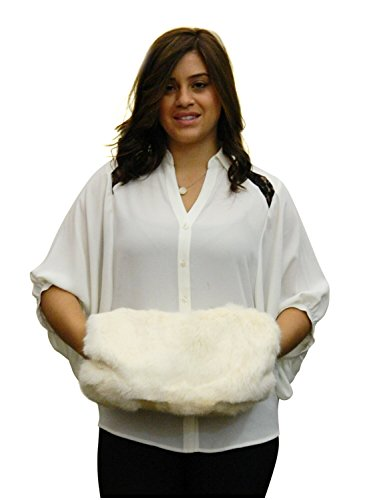 Rabbit Fur Muff (Rabbit Barrel Hand Muff in Ivory Color-Large Size)