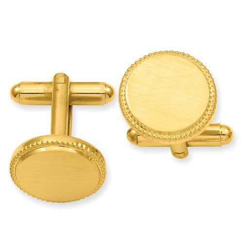 Kelly Waters Gold-plated Florentined Round Beaded Cuff Links