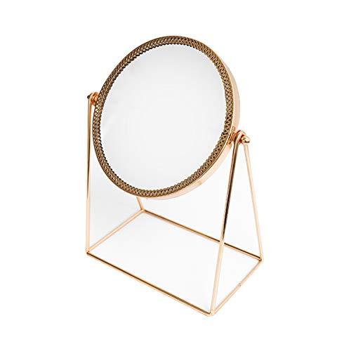 RMXMY Retro luz de Lujo de Oro Dorado Espejo Elegante Simple Generoso Maquillaje Espejo vestidor pequeño Espejo