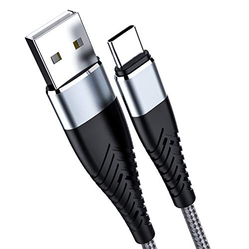 (Gray) USB c Cable (6.6ft 2pack) USB A to USB C Charging Cable 3A Fast Charging Cable and Samsung Galaxy S10 S10E S9 S8 S20 Plus, Note 10 9 8, Z Flip, Charger Compatible with All USB c Devices