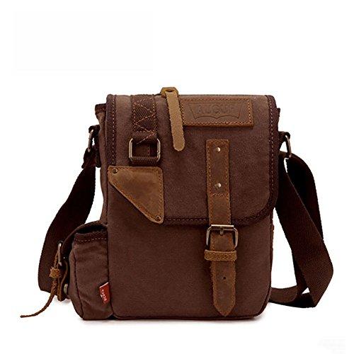Vintage Style Men's Boys Casual Canvas Shoulder Bag Cross-body Messenger Bag Satchel Schoolbag (Coffee) - 1