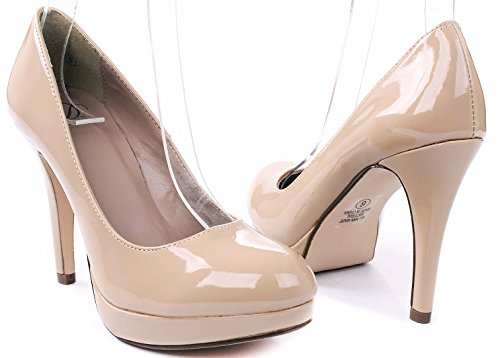 Scarpe Classiche Da Donna Tacco Medio Alta Piattaforma / Tacco Medio Pompe Dk Bge Pat