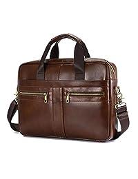 BAIGIO Mens Laptop Briefcase Genuine Leather 14/15 inches Shoulder Satchel Cross-Body Messenger Handbag Tote Bags for Men, Brown