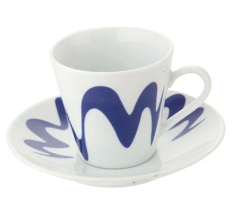 Top Moka - Cup & Saucer - Droplet Pattern - Porcelain - Dark Blue - x 1 ()