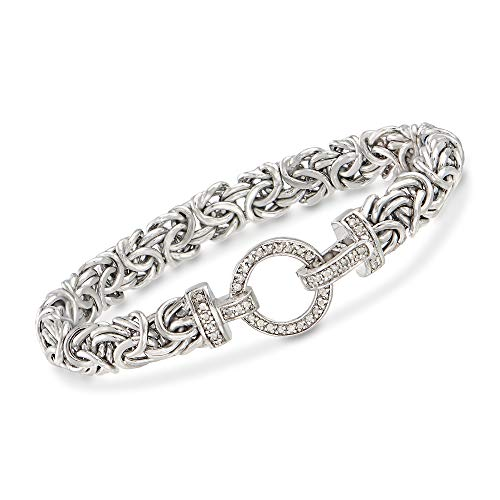 Ross-Simons 0.30 ct. t.w. Diamond and Sterling Silver Byzantine Bracelet