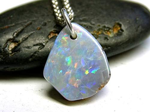 - Small Opal Pendant, Black Opal Nugget Pendant, Australian Opal Lightning Ridge, Small Opal Necklace Silver, Opal Anniversary Gift for Her