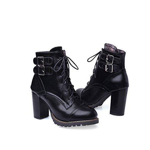 YE Damen Blockabsatz Ankle Boots High Heels Stiefeletten mit Schnürung und Schnalle 9cm Absatz Elegant Schuhe Schwarz