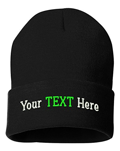 Peerless Beanie Hat With Custom Text Embroidered Your Text Here One Size SP12 (Black Knit W/Text, 1)