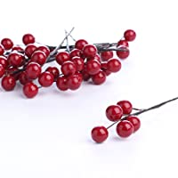 Factory Direct Craft Group of 12 Glossy Plump Dark Red Berry Picks on Wire Stems for Embellishing, Crafting and Decorating