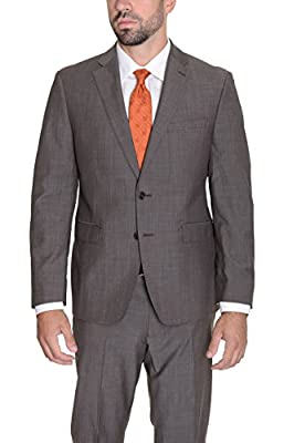 Calvin Klein X Extreme Slim Fit Brown Textured Two Button Wool Suit