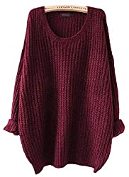 Arjosa Women S Fashion Oversized Knitted Crewneck Casual Pullovers Sweater 1 Wine Red