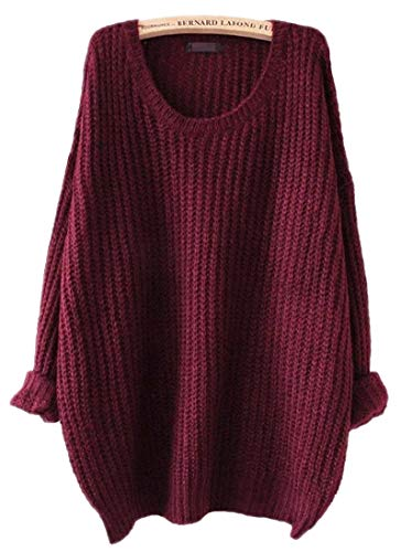 ARJOSA Women's Fashion Oversized Knitted Crewneck Casual Pullovers Sweater (#1 Wine Red)