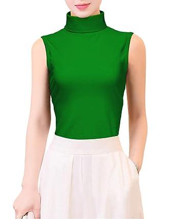 4995f7b34f2 KalvonFu Women's Cotton Seamless Sleeveless Turtleneck Shaping Tank Top (S,  Green)