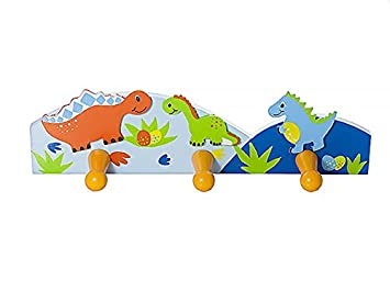 Kids Dinosaur Themed Coat Hook Wall Hooks for Boys Nursery or Bedroom