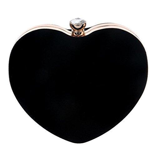 X Bag Black £¨16 25cm£© Heart NVBAO Purse£¬ Mini Evening Shape Wedding Party Suede Women Clutches 6wxqxARX7P