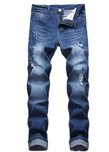 FREDD MARSHALL Men's Ripped Distressed Fashion Elastic Waist Straight Slim Fit Denim Jeans Long Pants