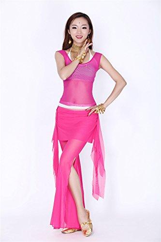Danza del vientre Disfraz Set Tribal See-through Top+Yarn Falda Pantalones Dark Pink