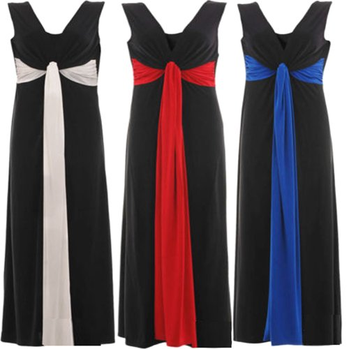 New Womens Plus Size Grecian Knot Contrast Color Panel Soft Long Maxi Dress