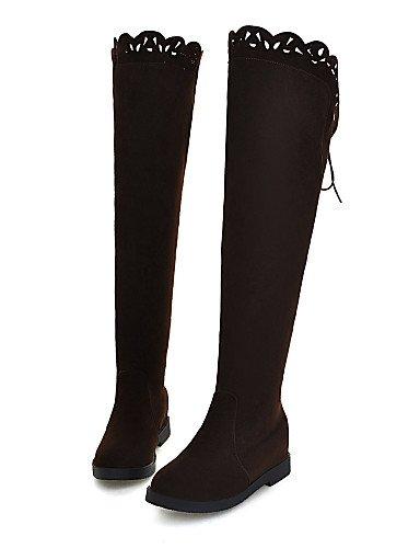 XZZ XZZ XZZ  Damenschuhe - Stiefel - Büro   Kleid   Lässig - Kunst-Veloursleder - Keilabsatz - Rundeschuh   Geschlossene Zehe - Schwarz   Braun   Khaki f60057