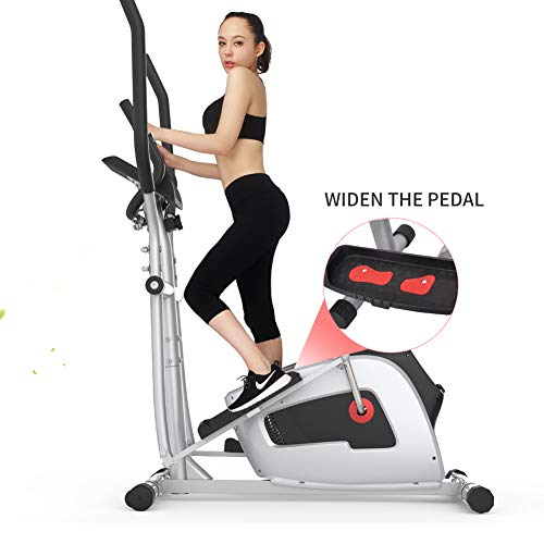 BeaCool Elliptical Machine Exercise Trainer Magnetic Smooth Quiet Driven Machine with LCD Monitor and Heart Rate for Home Use