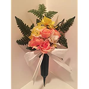 GRAVE DECOR - CEMETERY MARKER - FUNERAL ARRANGEMENT - FLOWER VASE - PINK, PEACH, AND YELLOW 50