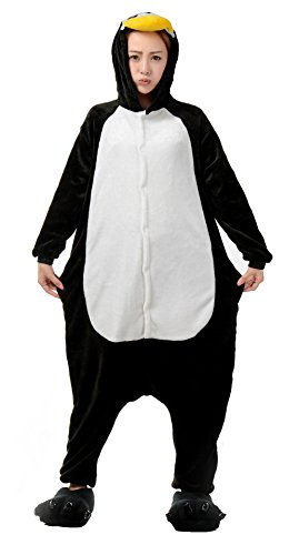 (Nicetage Unisex Adult Pajama Onesies Fleece One Piece Halloween Costumes Penguin)