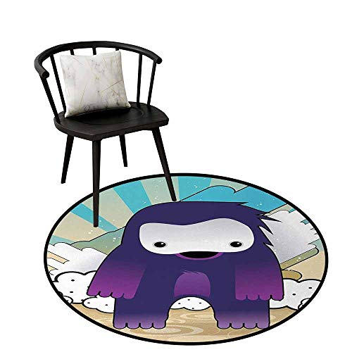 Colorful Round Rug Anime Protective Floor Japanese Manga Character Fantastic Monster on an Abstract Retro Style Background Multicolor D35(90cm)