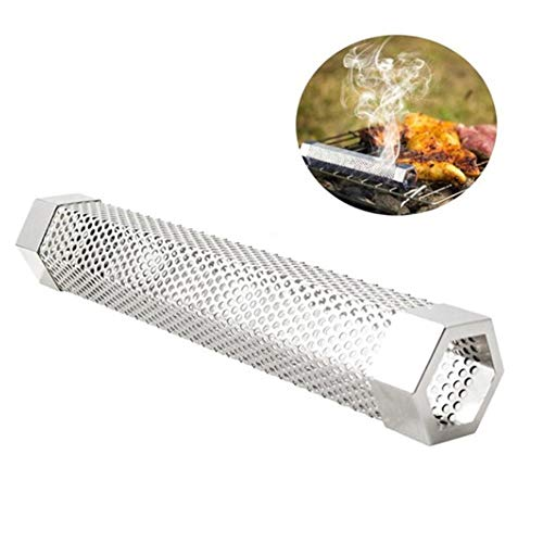(Ocamo Pellet Smoker Tube Perforated Stainless Steel BBQ Smoke Generator Tube for Grilled Food 6 inch)