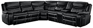 Homelegance Bastrop 3-Piece Reclining Sectional Sofa with Cup Holder Console Leather Gel Match with White Accent Stitching, Black