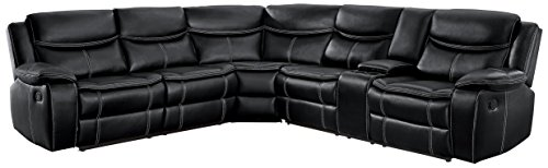 Homelegance 118 Manual Reclining Sectional Sofa, Black