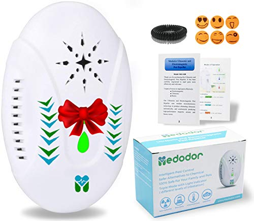 MEDODOR Electronic Bug Repellent Plug in for Indoor - Ultrasonic & Electromagnetic- Drives Away - Bugs Mouse Roaches Ants Spiders Rats Bats Bedbugs Flies Mosquitoes Fleas Rodents and Insects (White)