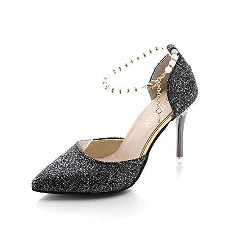Fente pour chaussures de chaussures _ Escarpin Femme fine avec Sandales à bout et polyvalente surpiqûres, Noir, 35