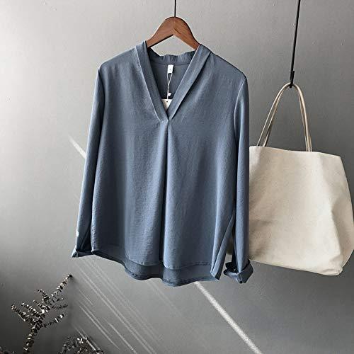 en Femmes de lache Blouses Longues Chic Shirt Manches Manches Snone Manches Shirts lgantes Bleu Shirt Femme Longues Style T T pour Soie Longues T Mousseline ZqvHTwY