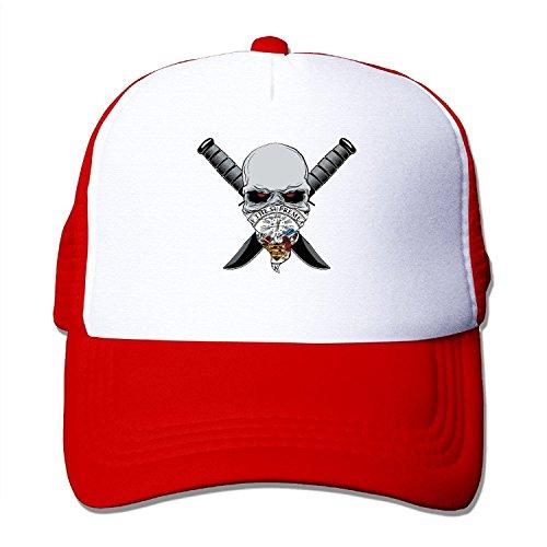 Flag Of Arkansas StateSeal Skulls Adult Trucker Mesh Caps Black
