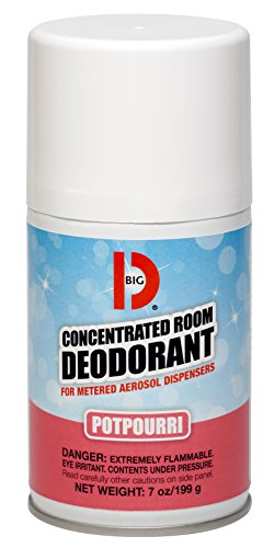 Big D 462 Concentrated Room Deodorant for Metered Aerosol Dispensers, Potpourri Fragrance, 7 oz (Pack of 12) - Air freshener ideal for restrooms, offices, schools, restaurants, hotels, (Aerosol Room Deodorant)