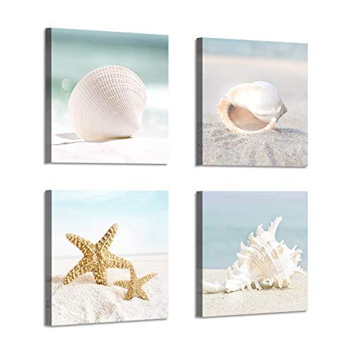 Starfish & Seashells Canvas Wall Art: Sandy Beach Seaside Graphic Artwork for Bathroom(12''x12''x4pcs) 12' Wide Cleaning Path