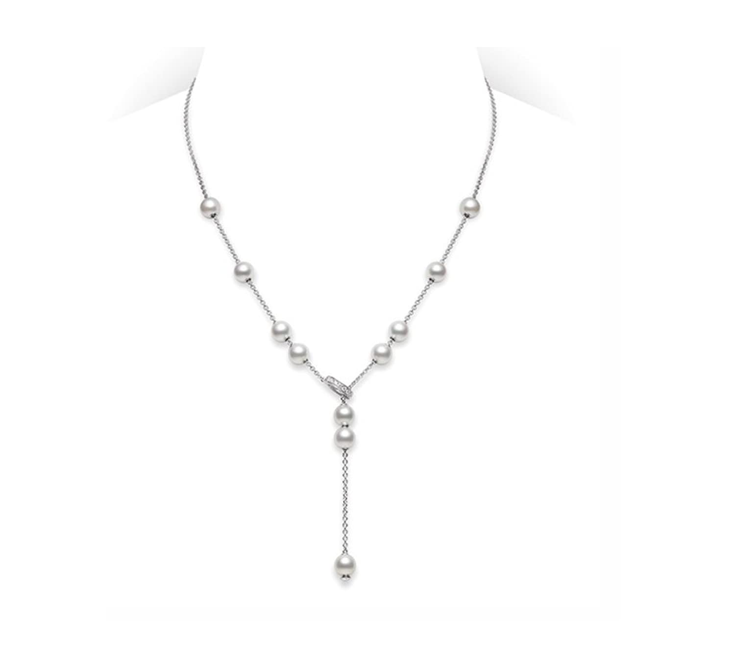 akoya mikimoto rose pearl pendant necklace white gallery lyst product jewelry gold diamond