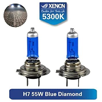 SET 2x BOMBILLAS HALOGENAS HOMOLOGADAS ITV XENCN H7 55W BLUE DIAMOND LIGHT 5300K +20%