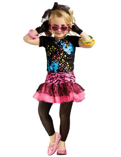 Girls 80's Pop Star Decade Halloween Costume Large 4-6