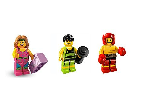 Weightlifter, Fitness Instructor, and Boxer: Lego Collectible Minifigures Series 5 Custom Bundle 71008 (Lego Boxing)