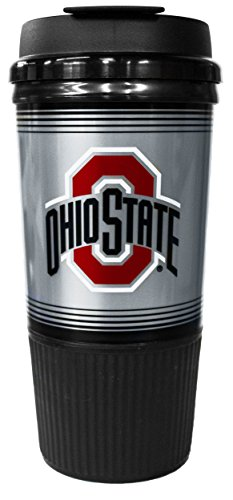 GameDay Novelty NCAA Ohio State Buckeyes Insulated Platinum Gripper Travel Tumbler with No Spill Flip Lid, 16 (Ohio State Buckeyes Travel Mug)