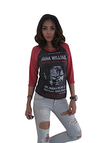 Bunny Brand Women's Hank Williams The king of country Music Raglan T-Shirt (Large, Gray) (Watch Field Ultimate)