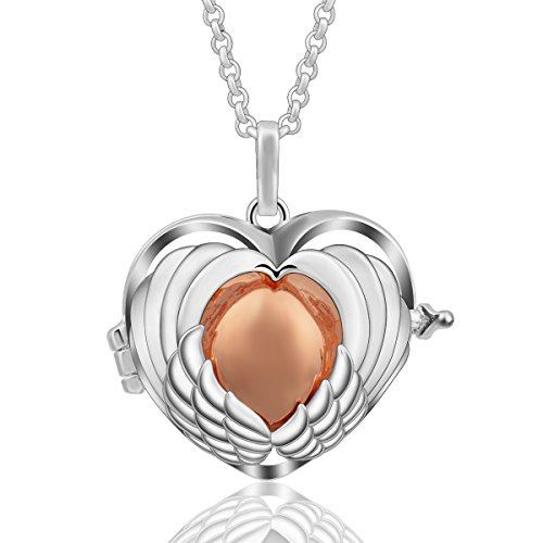 Bell Chain Necklace (AEONSLOVE Women Harmony Bola Angel Wing Heart Silver Chime Bell Pendant Necklace Long Chain 30