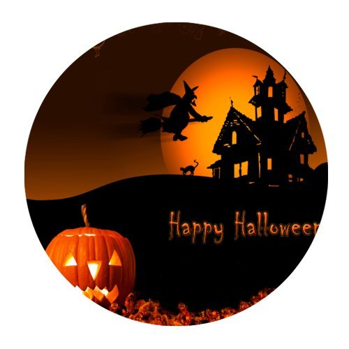 Happy Halloween Pumpkin Bat Moon House Mini Design Gaming Mouse Pad Rounded (Happy Halloween Gaming)