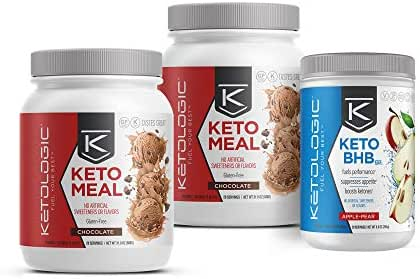 KetoLogic Keto 30 Challenge Bundle, 30-Day Supply | Includes 2 Meal Replacement Shakes with MCT [Chocolate] & 1 BHB Salt [Apple-Pear] | Suppresses Appetite, Promotes Weight Loss & Increases Energy