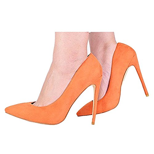 Plus Suede Party Size Dress Heels Stiletto Pointy Cymn Mavirs Women's Orange for Toe Shoes on Slip Pumps High aq6ZPw