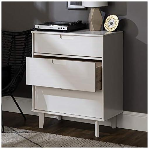 Bedroom Walker Edison Furniture AZR3DSLDRWH Pine Wood 3-DraWalker Edisonr Groove Handle Vertical Dresser, 36″ H, White modern dressers