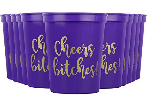 Cheers Bitches! Party Cups, 16oz - Set of 12 Perfect Birthday Party Cups, Bachelorette Party Cups or any Occasion (Purple)