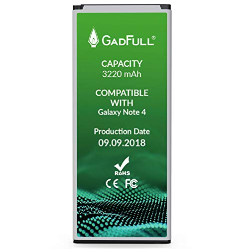 GadFull Battery Compatible with Samsung Galaxy Note 4 | 2018 Production Date | Corresponds to The Original EB-BN910BBE | Compatible with SM-N910F|SM-N9100|SM-N910U|SM-N910C|SM-N910H|SM-N910A
