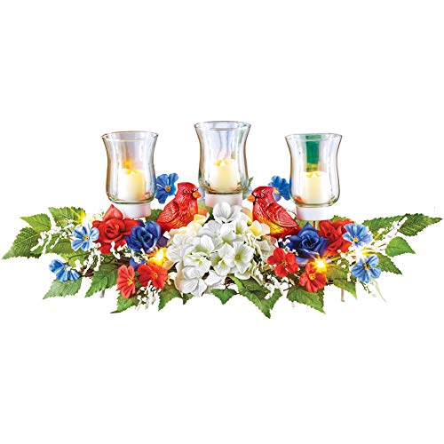 Lighted Patriotic Red, White and Blue Floral Tabletop Centerpiece Arrangement with Three Glass Candleholders and Lighted Cardinal Accents